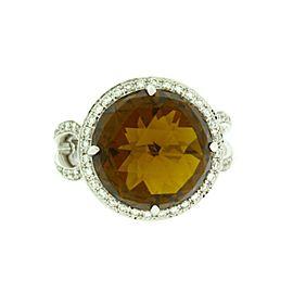 Simon G. 14K White Gold Citrine, Diamond Ring Size 6