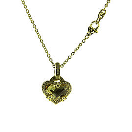 Judith Ripka 14K Yellow Gold with 0.40ctw. Diamond and Canary Quartz Pendant Necklace