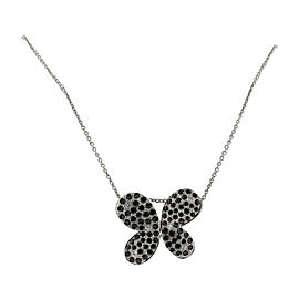 Roberto Coin 18K White Gold Diamond & Black Sapphire Butterfly Pendant Necklace