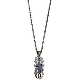 Stephen Webster 925 Sterling Silver London Calling Lapis Inlay Cross Pendant Necklace
