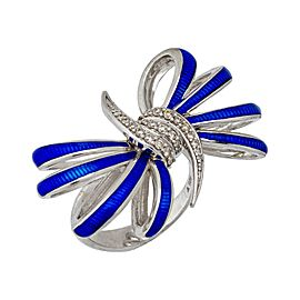 Stephen Webster 925 Sterling Silver 0.25ctw. Diamond & Blue Enamel Bow Forget Me Knot Ring Size 7