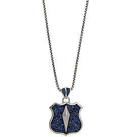 Stephen Webster 925 Sterling Silver & Blue Sapphire Highwayman Shield Pendant Necklace