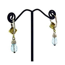 Judith Ripka Yellow Gold, Sterling Silver Diamond, Topaz Womens Earrings