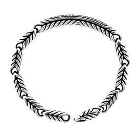 David Yurman Chevron Sterling Silver Diamond Womens Bracelet