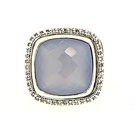 David Yurman Albion 925 Sterling Silver Blue Chalcedony & 0.38ctw Diamond Ring Size 6.5
