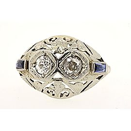 Filigree Ring Band Antique 18K White Gold .50ct 2 Diamond Sapphire Deco 6.75