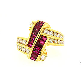 Charles Krypell 18K Yellow Gold 1.50ct Baguette Ruby & Diamond Crossover Ring Size 8.25