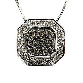 LeVian 14K White Gold with 1/2ct Diamond Square Octagon Pendant Necklace