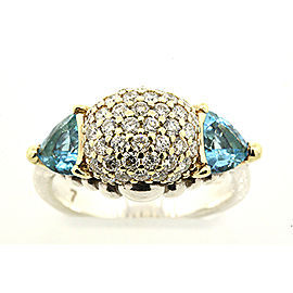 Lagos Caviar 925 Sterling Silver & 18K Yellow Gold Blue Topaz & Diamond Dome Ball Ring Size 7