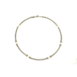 David Yurman 925 Sterling Silver Cultural Pearl & 1/2ct Diamond Cable Chain Necklace