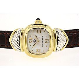 David Yurman Watch 18k Yellow Gold Sterling Brown Leather MOP Mother Pearl Rare