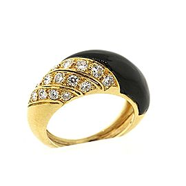 Van Cleef & Arpels 18K Yellow Gold Onyx & 0.65ct Diamond Domed Band Ring Size 6