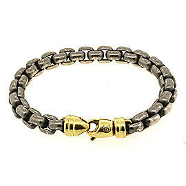 David Yurman Blackened 925 Sterling Silver & 18K Yellow Gold Box Chain Bracelet