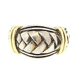 Scott Kay 925 Sterling Silver & 18K Yellow Gold Braided Weave Band Ring Size 9.25