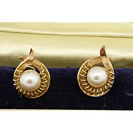 VINTAGE MIKIMOTO 14K YELLOW GOLD NON PIERCED SCREW BACK STUD 8MM PEARL EARRINGS