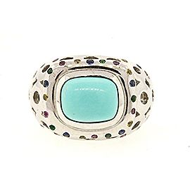 LeVian 14K White Gold Turquoise & Multi Color Sapphire Ring Size 7