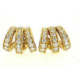 Oscar Heyman Brothers Diamond Hoop Huggie Earrings 18k Yellow Gold Screw On
