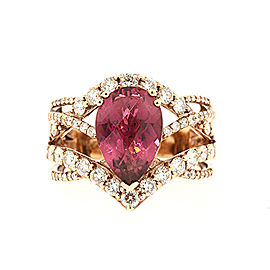 LeVian 18K Rose Gold Rhodolite Garnet & 1ct Diamond Ring Size 7