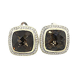 David Yurman Albion 925 Sterling Silver & 18K Yellow Gold Smoky Quartz & Diamond Clip On Earrings