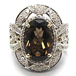 14k White Gold Diamond & Smoky Quartz Ring Size 3.5