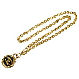Chanel Coco Mark Gold Tone Hardware Chain Necklace