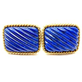 Tiffany & Co. 18K Yellow Gold with 20ct Lapis Lazuli Rope Bordered Cufflinks