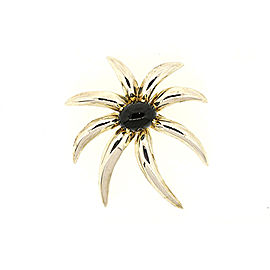 Tiffany & Co. 925 Sterling Silver & 18K Yellow Gold Onyx Fireworks Pin Brooch