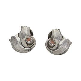 Georg Jensen Heritage 925 Sterling Silver Rose Quartz Earrings