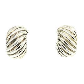 David Yurman 925 Sterling Silver Cable Shrimp Hoop Huggie Earrings