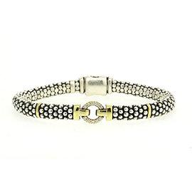 Lagos Caviar 925 Sterling Silver & 18K Yellow Gold 0.15ct Diamond Enso Circle Station Bead Bracelet