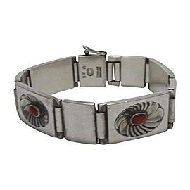 Georg Jensen 925 Sterling Silver Red Coral Bracelet