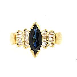 Effy 14K Yellow Gold Sapphire, Diamond Ring Size 10