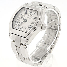 Cartier Roadster Ladies Small Silver Sunray Roman 30mm Steel W62016V3 Box&Papers