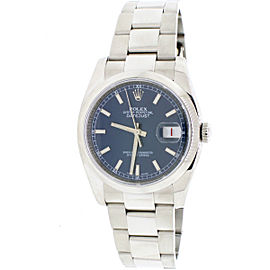 Rolex Datejust Blue Index Dial SS Domed Bezel 36MM Mens Oyster Watch 116200 B&P
