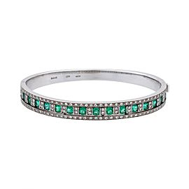 Damiani 18K White Gold Diamond, Emerald Bracelet