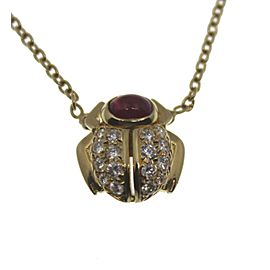 Van Cleef & Arpels 18K Yellow Gold Ruby Diamond Beetle Pendant Vintage Necklace