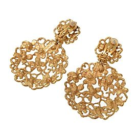 Yves Saint Laurent Gold Tone Rhinestone Earrings