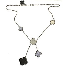 Van Cleef & Arpels 18K White Gold Mother Of Pearl and Chalcedony Necklace