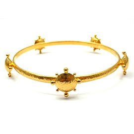 Gurhan 24K Yellow Gold Sun Star Motif Bangle Bracelet
