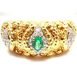Wander France 18K Yellow Gold Emerald 3.00ctw Diamond Cuff Bracelet