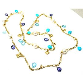 David Yurman 18K Yellow Gold Turquoise Cultured Pearl Tanzanite Necklace