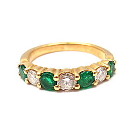 Fred Of Paris 18K Yellow Gold 0.50ctw Diamond Emerald Ring Size 4