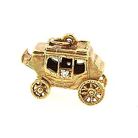Hammerman Brothers Bros. Carriage Charm 14k Yellow Gold Diamond Pendant Vintage