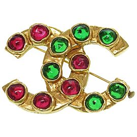 Chanel Gold Tone Glass Stone Brooch