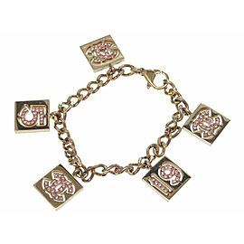 Chanel Gold Tone Rhinestone CC Bracelet