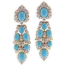 Van Cleef & Arpels Yellow Gold Turquoise Diamond Vintage Earrings