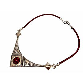 Hermes Tuareg Sterling Silver Leather Necklace