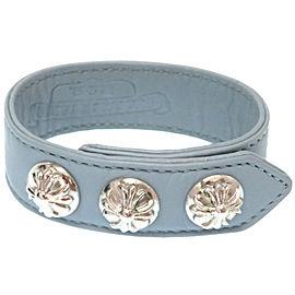Chrome Hearts Silver Tone Leather Bracelet