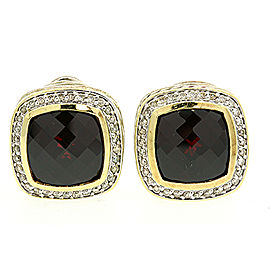 David Yurman Sterling Silver Garnet Diamond Albion Earrings