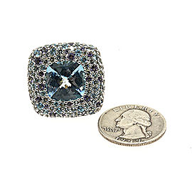 John Hardy Sterling Silver Topaz, Aquamarine, Iolite Ring Size 8
